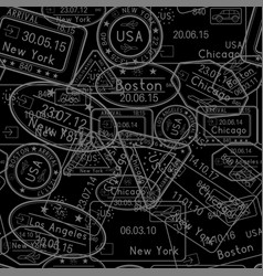 passport stamps seamless pattern black background vector image