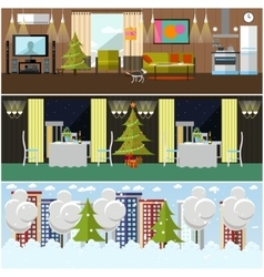 set of banners with home restaurant vector image