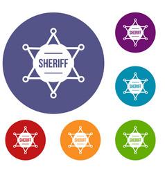 sheriff badge icons set vector image