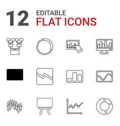12 chart icons vector