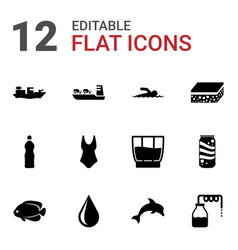 12 water icons vector