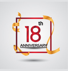 18 anniversary design with red color in square vector