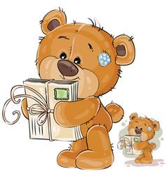 A brown teddy bear holding vector