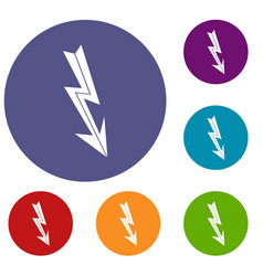arrow lightning icons set vector image