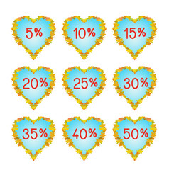 autumn hearts discount elements vector image