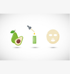avocado oil facial mask flat icons set vector image