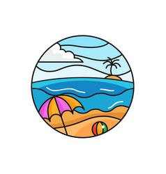 Bach logo badge sunny weather beach holiday scene vector