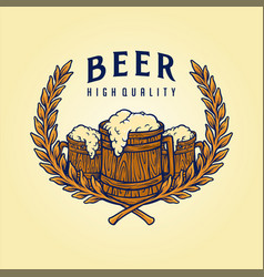 badge logo craft beer quality vector image