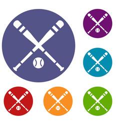 Baseball bat and ball icons set vector