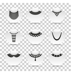 Bead silhouettes set silhouette icons with vector