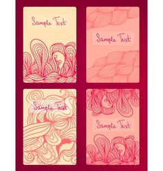 Beautiful cards with doodle drawings vector image