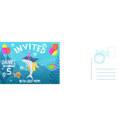 birthday invitation card holiday card with flat vector image