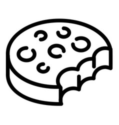 bitten biscuit icon outline style vector image