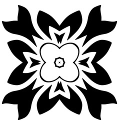 Black floral motif Isolated vector image