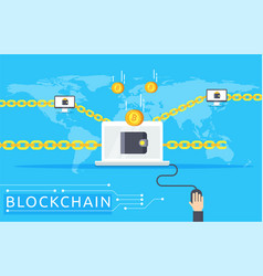 Blockchain in flat style vector