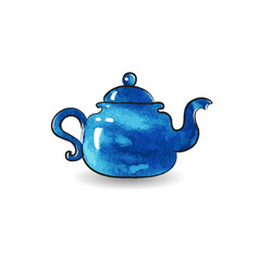 blue teapot watercolor vector image
