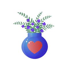 bouquet of blue wild flowers in big glass vase vector image