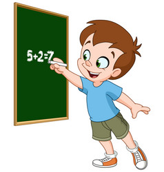 Boy writing on blackboard vector