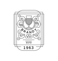 brandy vintage label design strong drink emblem vector image