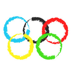brush painted olympic rings over vector image