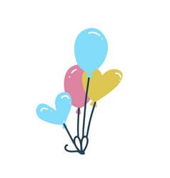 bunch balloons in cartoon doodle hand drawn vector image