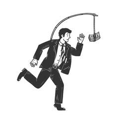 businessman chasing money sketch vector image