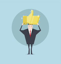 businessman holding the gold thumbs up sign vector image