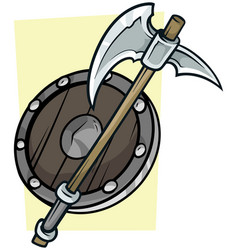 Cartoon big axe and wooden shield vector