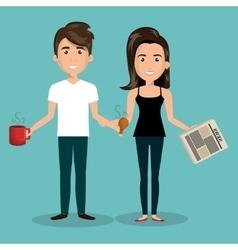 Cartoon couple break time design graphic vector