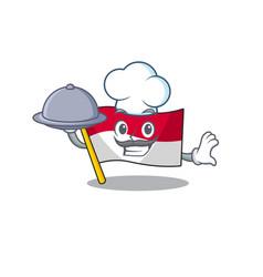 Cartoon design flag monaco scroll as a chef vector