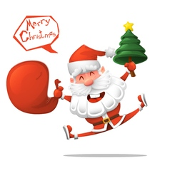Cartoon Jolly Santa Claus with a Christmas tree vector image