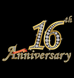 celebrating 16th anniversary golden sign vector image