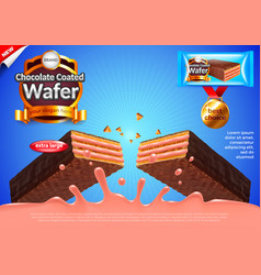 Chocolate wafer with strawberry cream ads vector