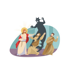 Christianity religion protection devil concept vector
