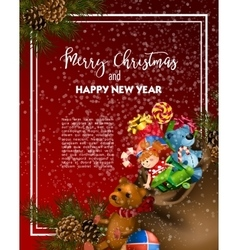 Christmas greeting-card with fir-tree and gifts vector image