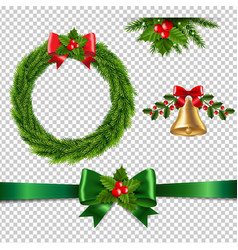 christmas set isolated transparent background vector image