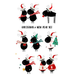 christmas set with cute moose vector image