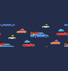 colorful cars with gift present boxes postcard vector image