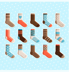 Colorful cartoon cute kids socks stickers vector