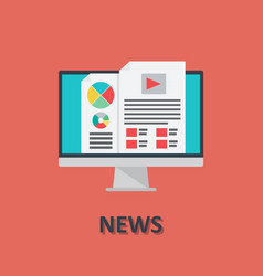 computer online news icon in flat style vector image