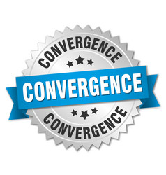Convergence round isolated silver badge vector