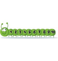 cute cartoon caterpillar with numbers mascot vector image