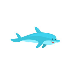 cute cheerful dolphin cartoon sea animal character vector image