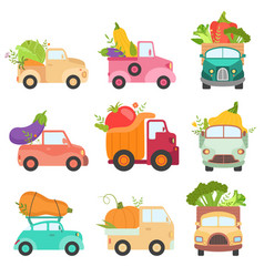 Cute colorful trucks delivering giant fresh vector