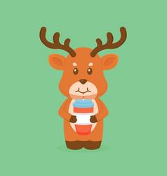 Cute deer drink coffee cartoon vector