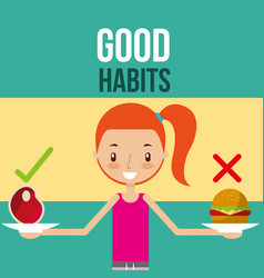 Cute girl with healthy and unhealthy food good vector