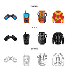 Design of mountaineering and peak icon set vector