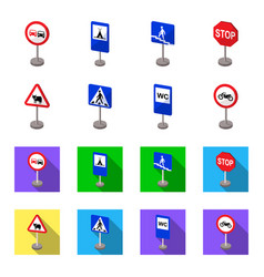 Different types of road signs cartoonflat icons vector