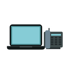 digital telephone with laptop computer vector image