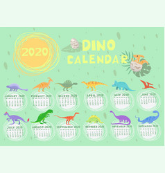 Dino calendar 2020 in pastel colors graphics vector
